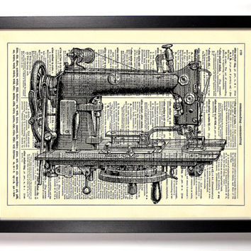 Sewing Machine, Vintage Illustration, Eco Friendly Home, Kitchen, Bathroom, Nursery Decor, Dictionary Book Print Buy 2 Get 1 FREE