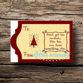 Holiday gift tags- Funny- Don't get too excited- Sheet of 14- digital print, instant download, printable gift tags