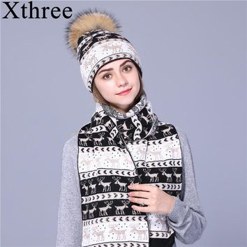 Xthree Christmas deer winter hat scarf set Thick Double-deck beanie Warm wool Knitted hat scarf for women real mink fur pom pom