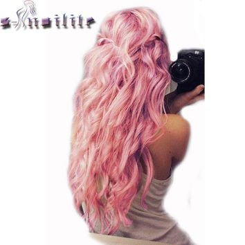 S-noilite 24 inches Curly Clip in Full Head Hair Extensions One Piece 5 Clips for human Cosplay Synthetic Hair Red Pink Purple