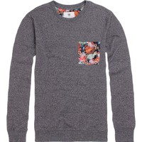 On The Byas Dru Floral Pocket Crew Fleece - Mens Shirt - Gray