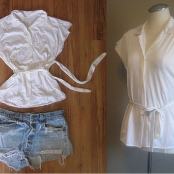 vintage White Belted Slip Top / Embroidered Collar Shirt / Button Up and Lace Lingerie