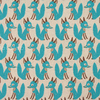 Japanese Fabric - Little Fox - aqua blue on natural - fat quarter