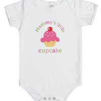 Mommy's little cupcake cute baby jumpsuit-Unisex White Baby Onesuit 00