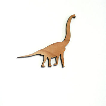 Brachiosaurus Brooch. Laser Cut Wooden Dinosaur Badge. Cherry Wood and Acrylic.