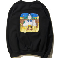 Fall and winter hip-hop middle finger cheap cat pyramid Pharaoh men and women lovers section of the circle of men and women tide clothing