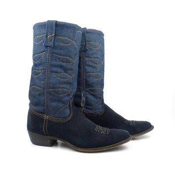 Denim Cowboy Boots Vintage 1970s Acme Blue Suede Leather Women's size 8