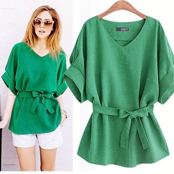 European Ladies Blouse Summer Women Cotton Linen Tunic Shirt V Neck Loose Blouse Female Tops Plus Size XL-5XL