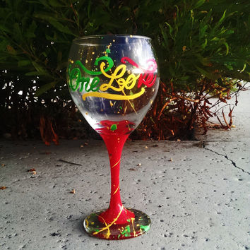 ONE LOVE wine glass -  bob marley - hand painted - 20 oz