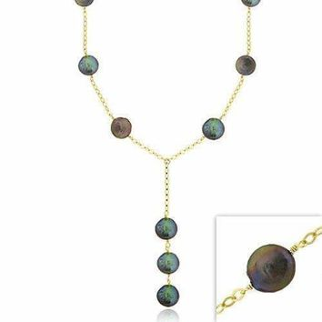18K Gold over Sterling Silver Freshwater Cultured Peacock Coin Pearl Y Necklace