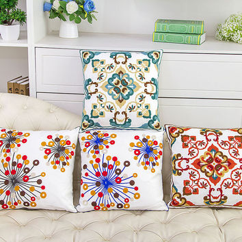 Cotton Embroidery Flowers Knit Luxury Sofa Cushion [6283475270]