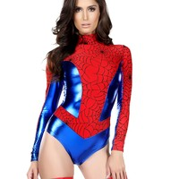 Red & Metallic Blue Spiderman Bodysuit Costume