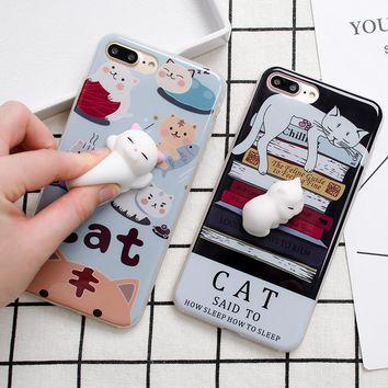 Lovely 3D Soft lazy cat phone Cases For iphone 6 6s 6plus 7 7Plus cartoon Soft TPU phone back cover