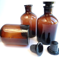 Vintage Brown Old Pharmacy Glass Bottle