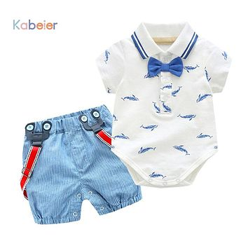 0-2Y Summer Newborn Baby Boy Girl Clothes set Little Shark T-shirt Overalls +Blue Shorts Outfits Clothes Baby Clothing Set