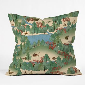 Belle13 Travelling Through Jurassic Throw Pillow