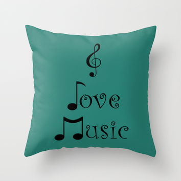 I Love Music - Tribal Teal Throw Pillow by Moonshine Paradise