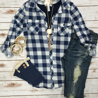 Penny Plaid Top: Blue