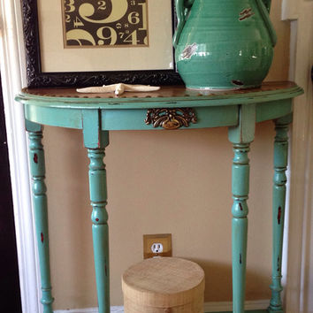Vintage Hand Painted Glazed And Distressed Solid Wood Demi Lune Table