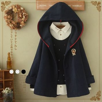 Trendy Mori Girl 2017 New Women's Autumn Sweet Loose Cute Cloak Solid Color Hooded Cartoon Batwing Sleeve Appliques Coats Jackets AT_94_13
