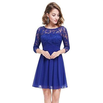 Royal Blue Chiffon Lace Dress