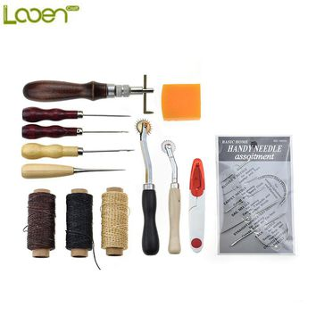 Looen Brand 13pcs Leather Craft & Sewing Tools Set Carving Drilling Punch Stamp Tools Including Needles Thread Scissors Tools