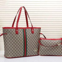 GUCCI Two piece Women Shopping Leather Handbag Tote Satchel Shoulder Bag H-MYJSY-BB
