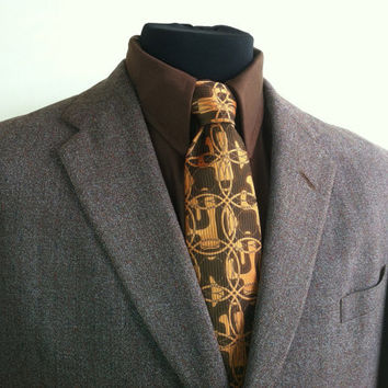 1950's Bonds Clotihng Brown and White with Speckled Color Mens Sports Jacket