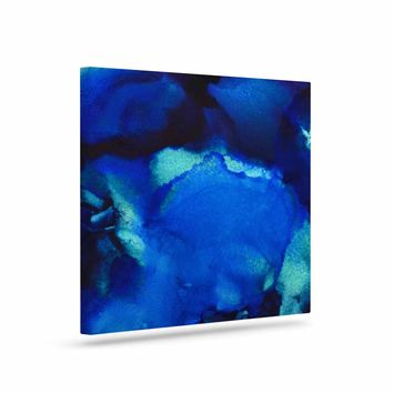"""Claire Day """"Mountain Stream"""" Blue Teal Abstract Painting Canvas Art"""