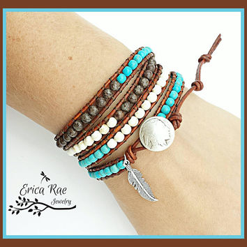 Turquoise leather wrap bracelet, turquoise jewelry, boho jewelry, boho beaded wrap bracelet, Indian head nickel, feather charm bracelet