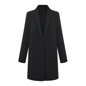 Womens WOOL Cashmere Long Winter Coat Trench Blazer Suit Jacket