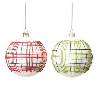 12 Christmas Ornaments - Red And Green Plaid