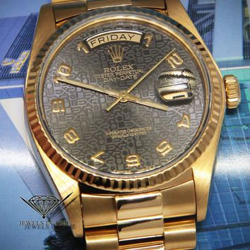 Rolex Day-Date President 18k Yellow Gold Black Jubilee Dial Mens Watch 18038