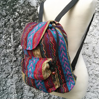 Boho Backpack Ethnic Aztec Printed Tribal Hippies Gypsy Nepali Patterns Bags Woven Fabric Tote Rucksack Hipster Hobo Purse Native size Small