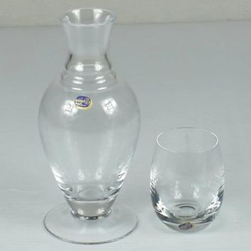 Bohemia Etched Glass Wine Decanter & Glass