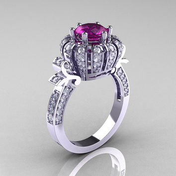 Classic Yeva 14K White Gold 1.0 CT Amethyst Diamond Crown Solitaire Bridal Ring Y303C-14WGDAM