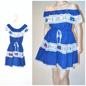 OAXACA embroidered dress / BOHO royal blue MEXICAN mini peasant folk dress