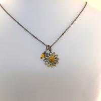 Rustic Enameled Flower And Orange Double Necklace