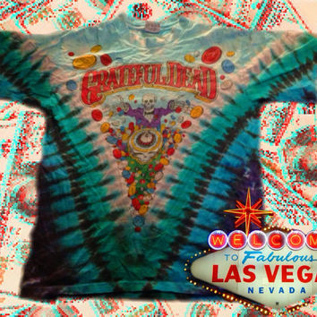 RARE ORIGINAL vintage Grateful Dead tour shirt, Las Vegas 1991. Excellent conditon. Tye dye,skeletons, cool, hippie, grunge, gambling.