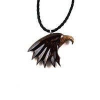 Eagle Necklace, Eagle Pendant, Eagle Head Necklace, Wood Eagle Necklace, Mens Necklace, Eagle Totem Necklace, Mens Jewelry, Eagle Jewelry