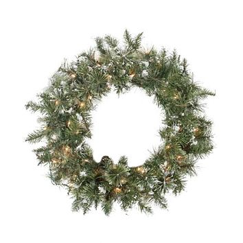 "24"" Pre-lit Snow Mountain Pine Artificial Christmas Wreath - Clear Lights"