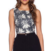 L'AGENCE Open Back Crop Top in Navy