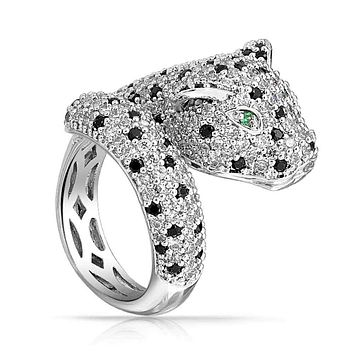 Green Eye Black White CZ Leopard Panther Cat Ring Silver Plate Brass