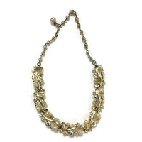1950s Necklace, Signed Lisner Gold Tone Leaf Choker Necklace with Faux Pearl and Rhinestone, Wedding Bridal Jewelry