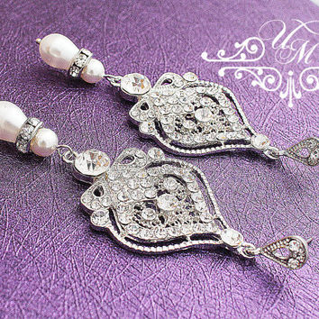 Wedding Jewelry Wedding Earrings Bridal Earrings Bridesmaids earrings Rhinestone earrings Dangle Earrings Pearl Earrings Vintage - RAISA