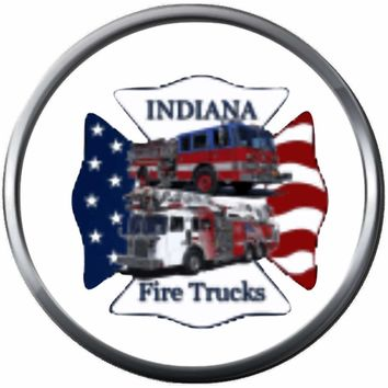 Indiana Fire Fighter Fireman Trucks USA Flag Thin Red Line Courage Under Fire 18MM-20MM Snap Charm Jewelry New Item