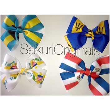 Caribbean flag hair bow(if you don't see a country please state it in the instructions or email us)