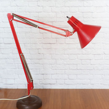 Industrial LUXO Lamp Articulating Swing Arm Task Light RED Designed By Jac Jacobsen