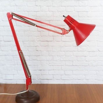 Industrial LUXO Lamp Articulating Swing Arm Task Light RED, Designed by Jac Jacobsen, Vintage Drafting Lamp, Architect Lamp