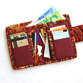 Bifold Wallet for women - Billfold Wallet - womens wallet - cash wallet - coin pocket - card holder wallet - coin wallet - fabric wallet